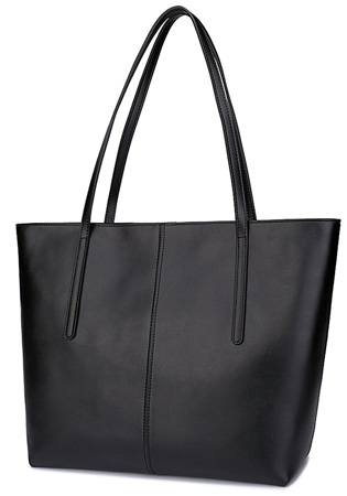 Black leather tote bag for women