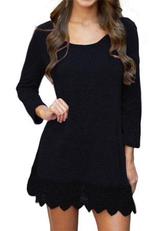 women's black long sleeve A line dress