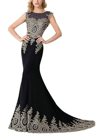 Cheap black lace prom dresses 2017