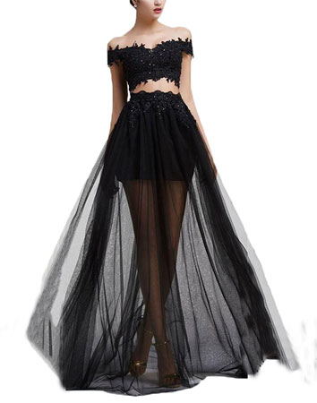 Cheap black lace prom dresses