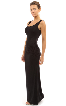 Long black sleeveless maxi dress