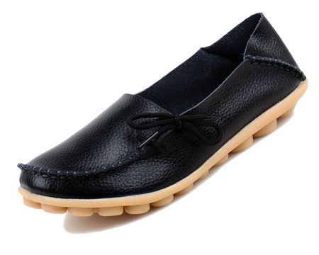 Womens black soft leather shoes