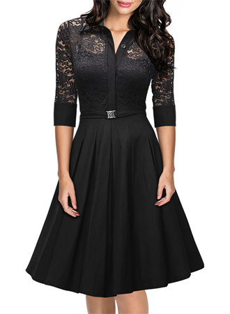black lace a line dress with sleeves