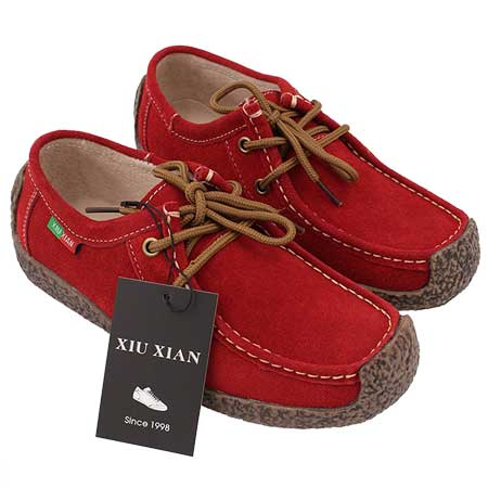 ladies flat red shoes