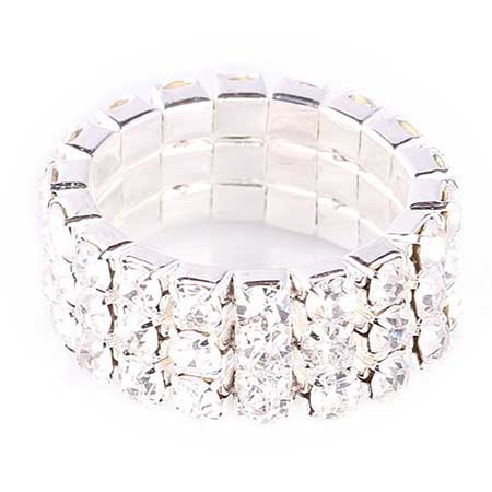 Stretch rhinestone ring