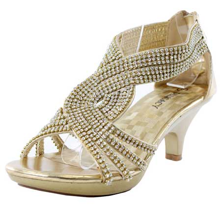 Women's low heel rhinestone shoes