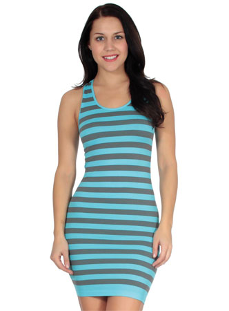 Simplicity women's striped summer mini tank dress