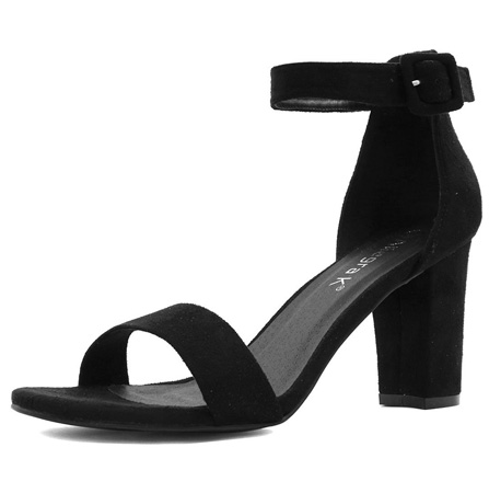 woman open toe black chunky heel sandals