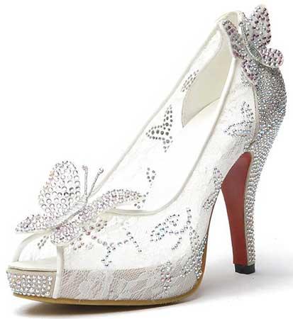 white lace bridal shoes