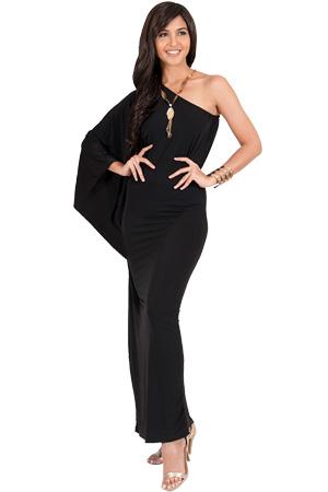 Black one shoulder maxi dress