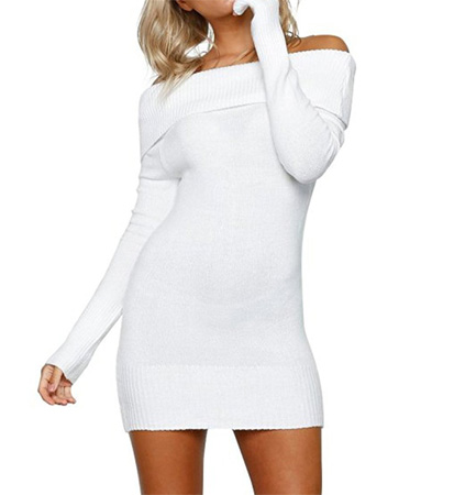 knitted white mini dress