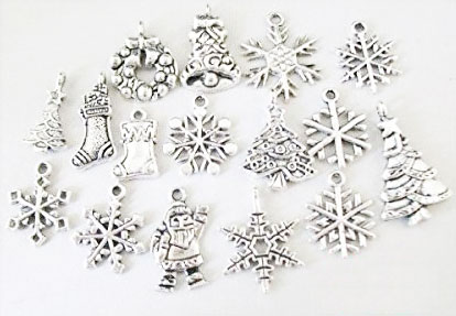Antiqued silver Metal Christmas charms tree santa snowflake ornaments
