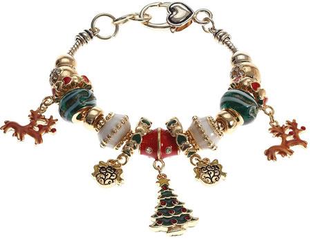 Christmas murano glass charm bracelet