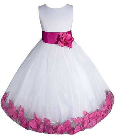 fuchsia flower girl dress