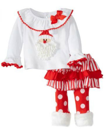 Mud Pie Little Girls Santa Baby Skirt Set