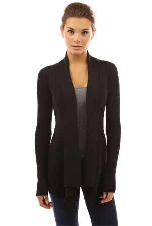 The PattyBoutik ribbed cascading asymmetrical hem black open sweater cardigan