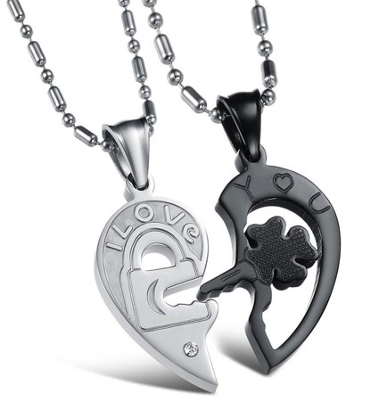 heart and key necklace set for couples