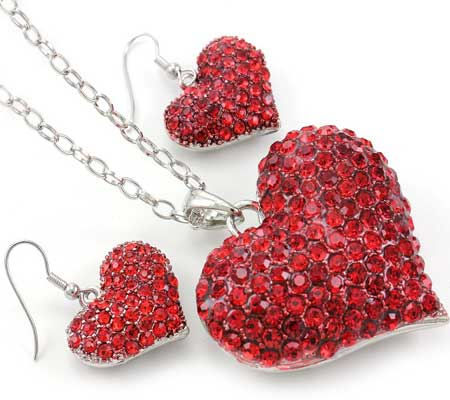 red heart necklace and earrings set