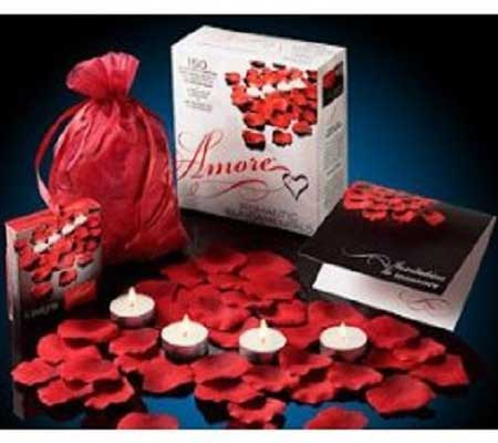 scented floating silk rose petals and candles