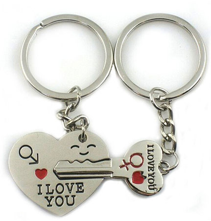 World Pride key to my heart couple keychain key ring