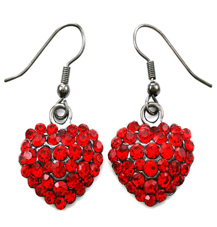 Valentines day red heart earrings