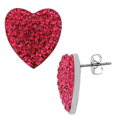 silver stud heart earrings