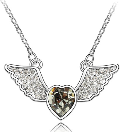 swarovski elements crystal heart pendant necklace