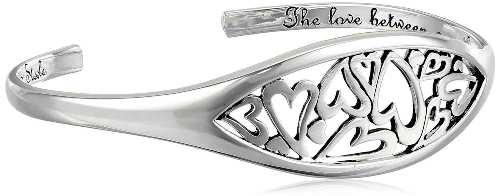 Silver heart cuff bracelet