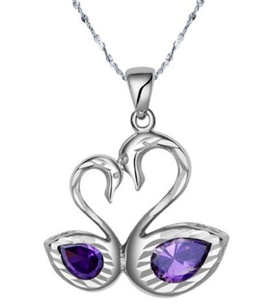 Double swan heart love pendant necklace