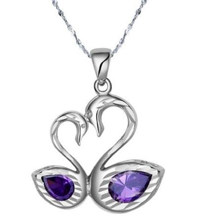 Double swan heart love pendant necklace