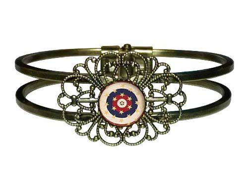Memorial Day Remembrance Flower Cuff Bangle Bracelets