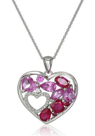 double heart diamond pendant necklace
