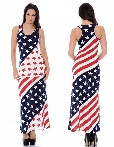 4th of July American Flag Maxi Dress