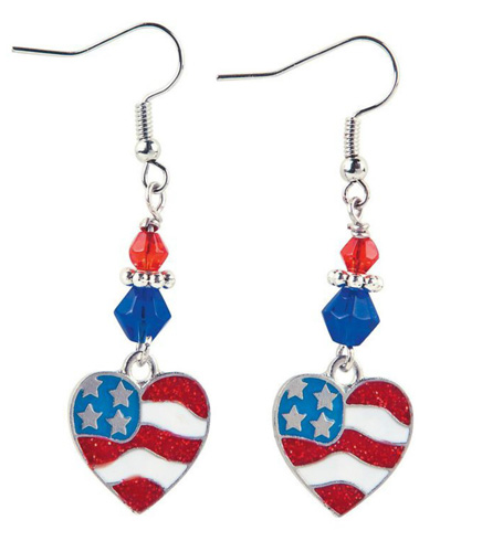 American Flag Heart Dangle Earrings