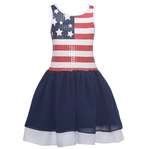 girls american flag sequin dress