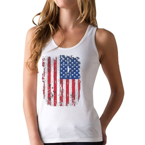 womens American flag racerback tank top