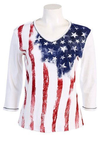 Ladies american flag t shirt