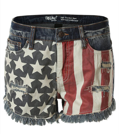Womens American flag denim shorts