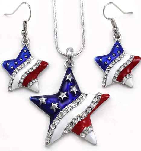 4th of july pendant necklace set