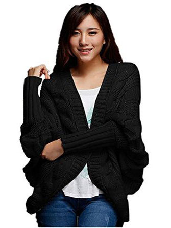 cable knit batwing cardigan sweater