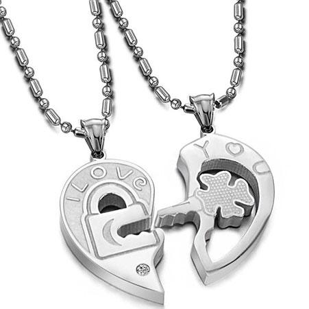his and hers heart necklace set