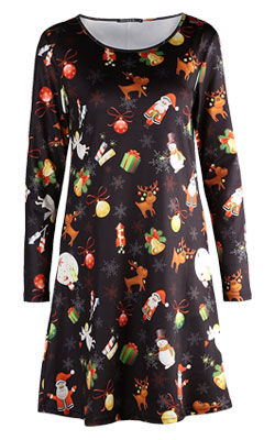 womens Christmas print dress from OUGES