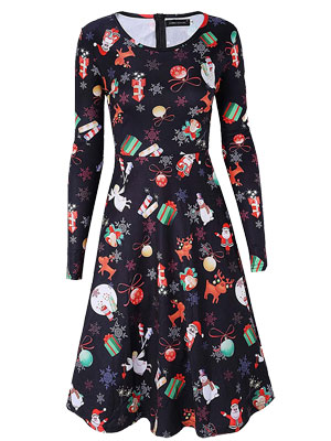 Dreagal women's Christmas print dress