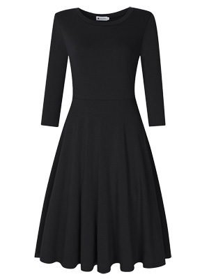 Womens black Christmas dress with sleeves