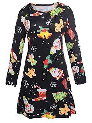 women's Christmas print dresses
