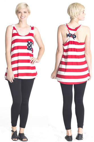 American flag womens striped tank top