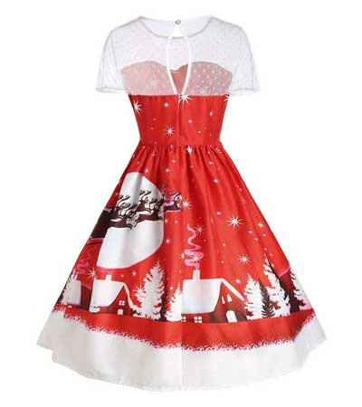 christmas print swing dress
