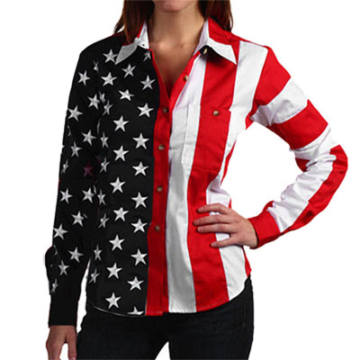American Flag Long Sleeve Polo Shirt