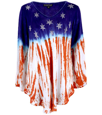 American flag long sleeve shirt women