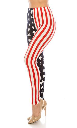 American Flag Print Leggings